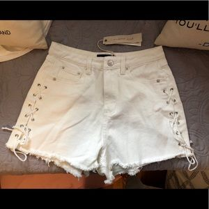High Waisted White Denim Shorts with Woven Chord